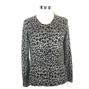 NWOT APT9 cashmere animal print cardigan M